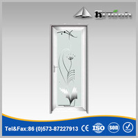 Simple Pattern Chinese Style Metal Frame Glass Door