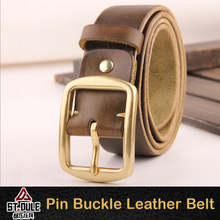 Khaki famous brand belt with tri-glide buckle