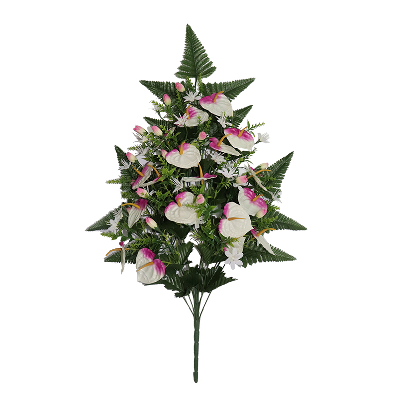 Small anthurium artificial plane trees with 18 head bouquets for funeral