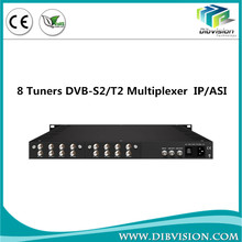 Low cost DVB-C cable TV headend FTA IRD with 8 DVB-S/S2 tuners inpu to ASI and IP