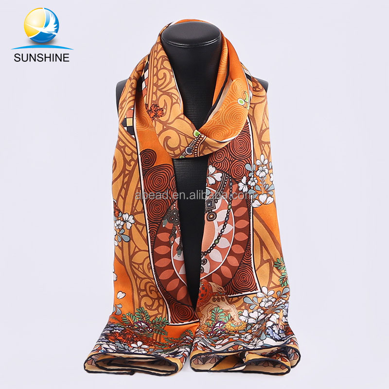 Spring handmade scarf hot sale hangzhou silk scarf women summer long scarf