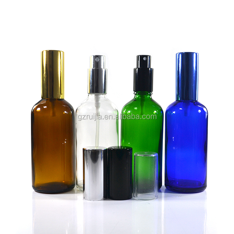 100ml frosted glass bottle with pump spray mist cap for cosmetic perfume packaging