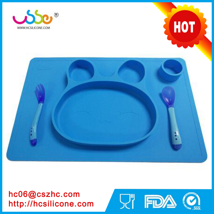 Disposable OEM Dish Dishes Hot Toddler Kids Baby Food Bunny Placemat One-Piece Silicone Child Divided Dish Bowl Plate
