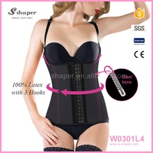 Sport Latex Rubber Waist Trainer Cincher Underbust Corset Body Zip Vest Colombia W0301L4