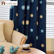 NAPEARL embroidered daisy floral fancy design living room blackout old fashioned curtains