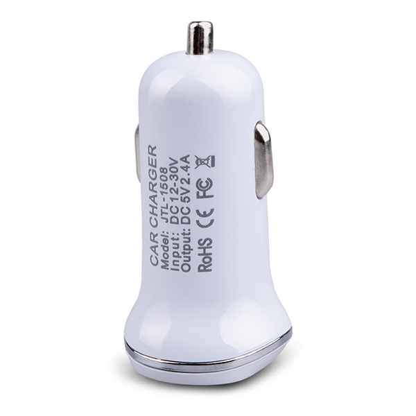 Electric Type and Mobile Phone Use ABS shell with metal ring 2.1a 2 port usb car charger