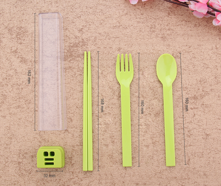 Colorful 3pcs/set Chopsticks Spoon Fork Lunch Portable Tableware Sets Environmentally