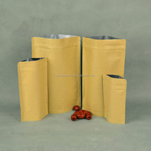 Clear plain aluminum foil kraft paper food packaging bag for nuts packaging