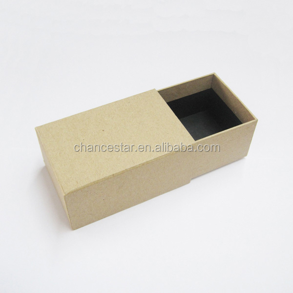 Eco custom hard brown kraft paper drawer box for jewelry for Eco boxes