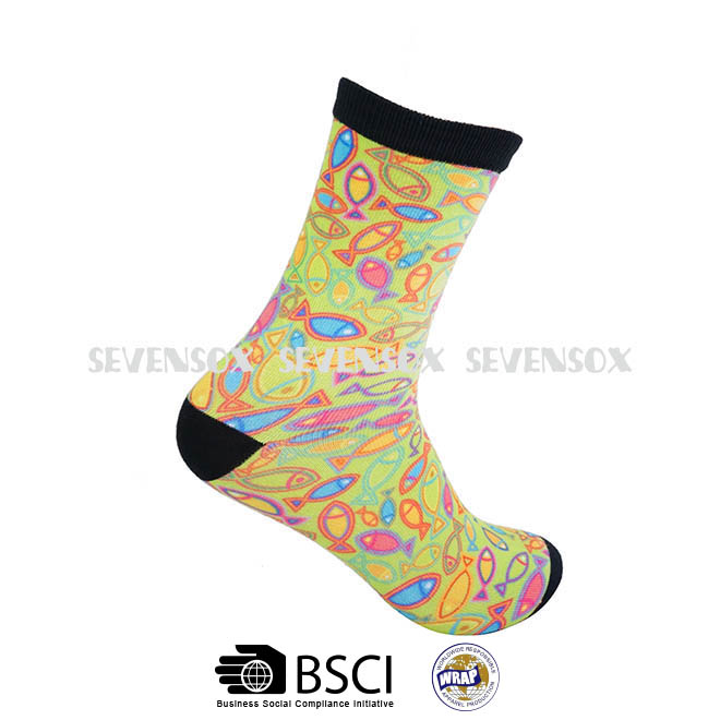 Women colorful custom Sublimation elite 3D digital fish printed socks