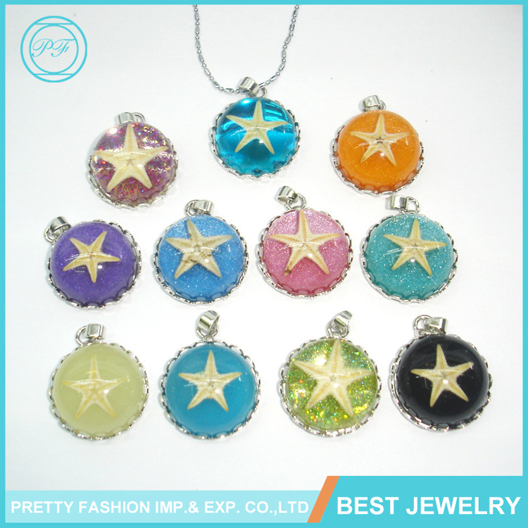Wholesale New Necklace Vintage Metal Amber Glass Starfish Chain Pendant Necklace