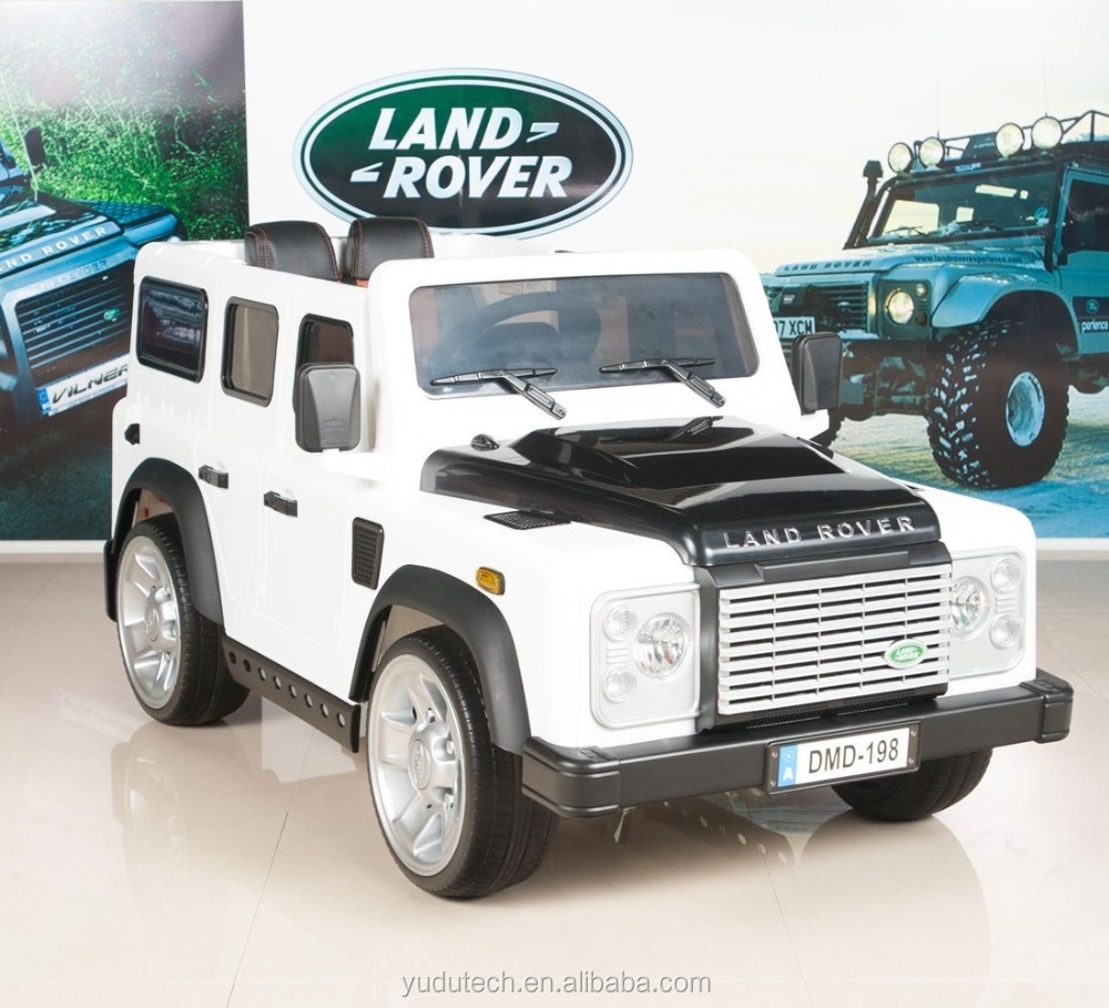 white Land Rover Defender Kids Ride On Truck/Car 12V Electric Powered Wheels with RC Remote Control ride on car