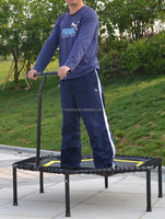 Fitness hexagon trampoline with handle bar