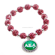 Fashion Europe beads with metal sticker charms tags AKA greek sorority group pendant adjustable bracelet