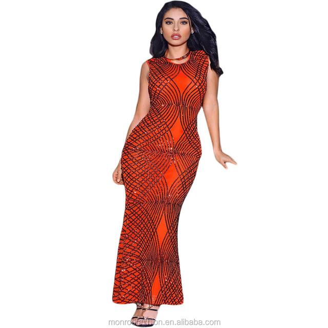 monroo Elegant Party Dress Orange Long Sequined Dress Women For Special Occasion Slim Sleeveless Sexy Maxi Dresses Vestidos
