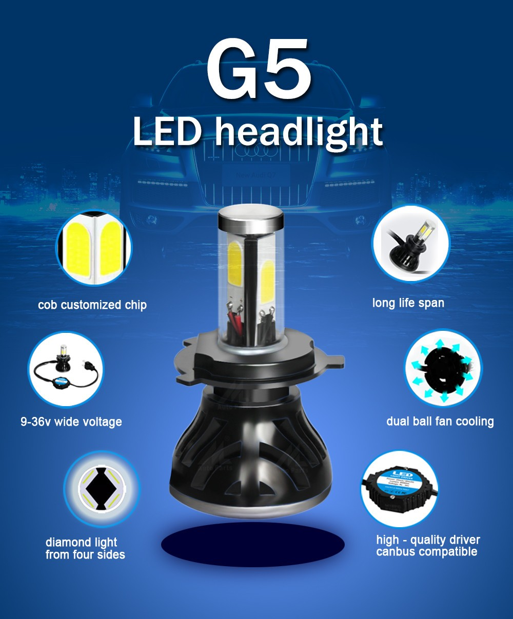 Milan factory direct g5 12v 40W 4000lm high low beam h13 led headlight