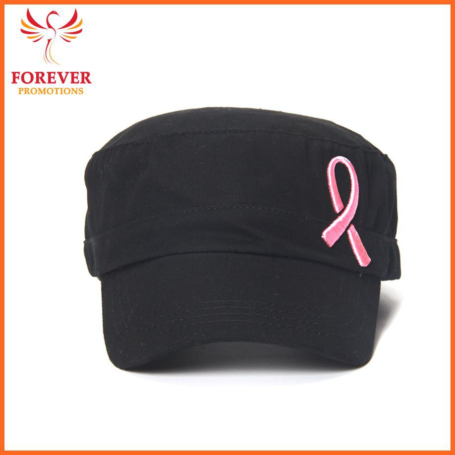 Black Cotton Pink Ribbon Breast Cancer Awareness Baseball Cap