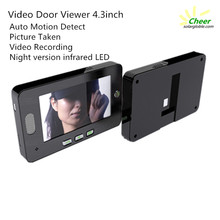 Auto Motion Detective! 4.3inch large LCD Screen Infrared digital door peephole viewer