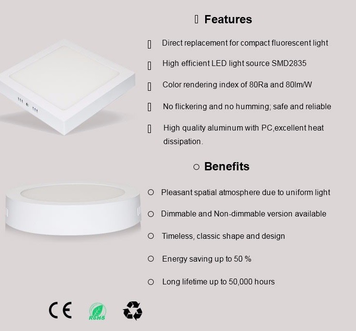 Chinese Manufacture High quality 6W 9w 12W 18W 24W 6500k daylight surface mounted round led ceiling panel light