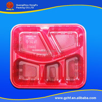 Rectangular 4 Sections Plastic blister container with Clear Lid for Fast Food