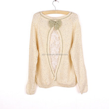 2015 fancy design bowtie ladies pullover crochet knitwear