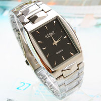 mature mens silver alloy metal wristwatches rectangle case classic quartz watch for gift sets