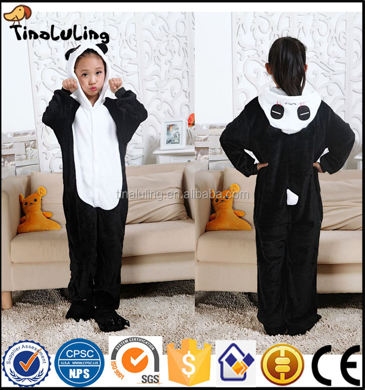 2017 kids panda pajamas girls animal pyjamas baby cosplay kigurumis children piece set full sleeve for boy's romper