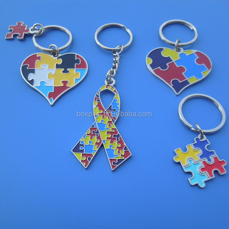 soft enamel heart ribbon puzzle key chains, autism item gifts key holder metal