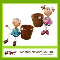different types bright color fancy Japanese antique cast iron mini plant flower pots wholesale