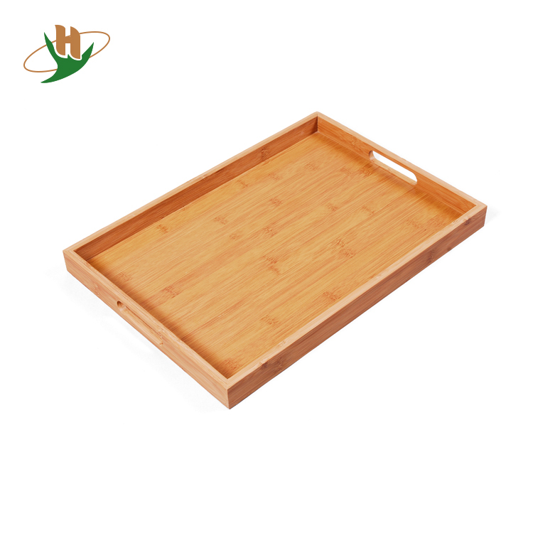 Melamine bottom wooden tray bamboo fiber serving tray with handle
