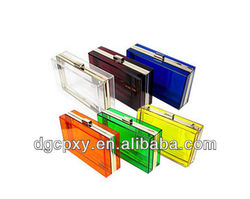 elegant and luxury transparent or colorful acrylic clutches and purses