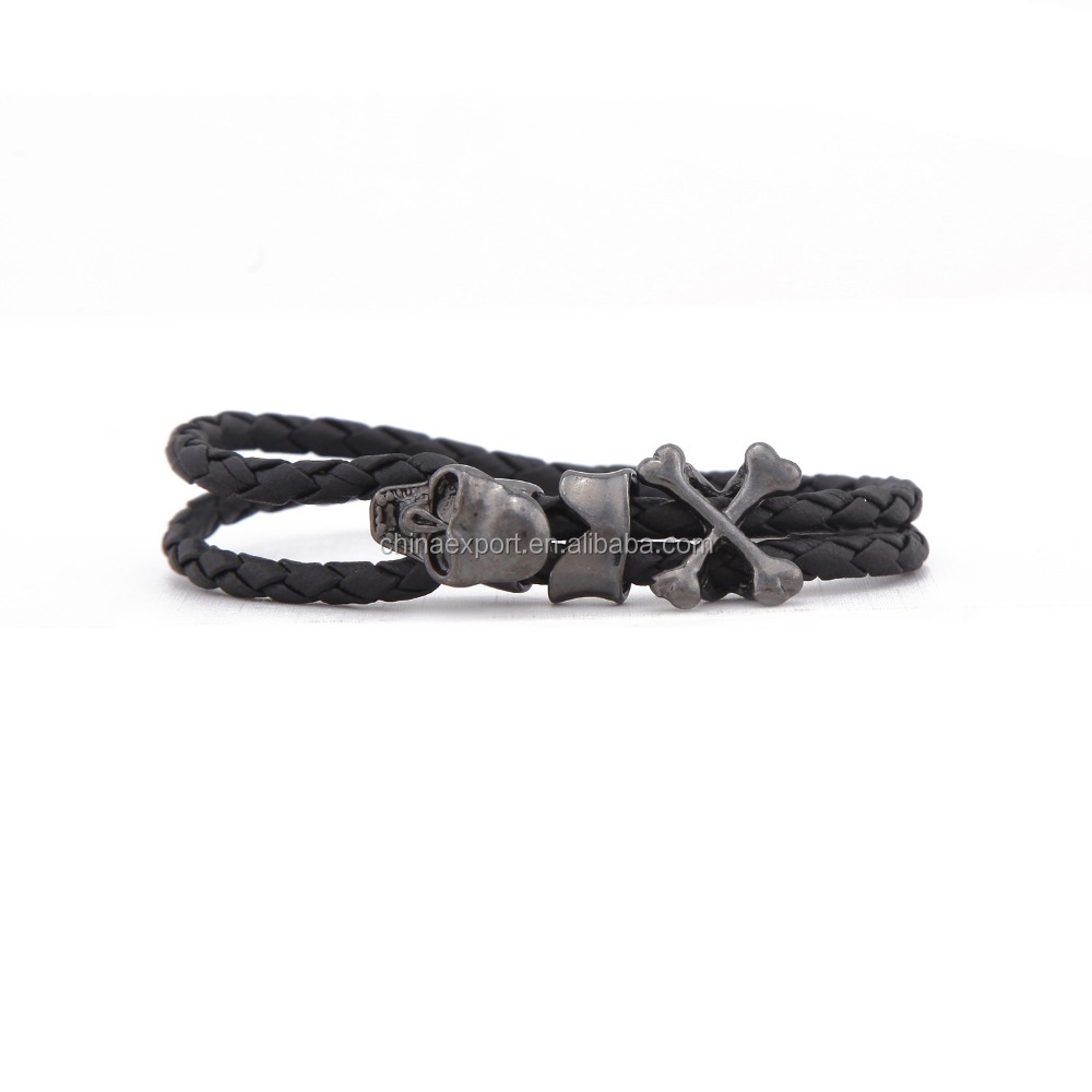 New design black skull cross bones men braided leather bracelet