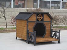 wooden dog house kennel with veranda extra large pet house home depot