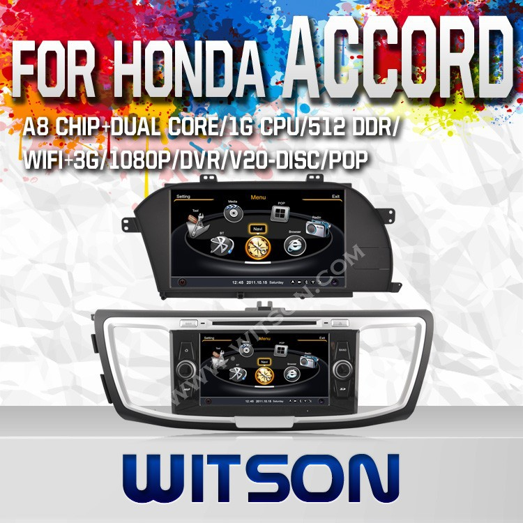 WITSON FOR HONDA ACCORD 2013 DOUBLE DIN CAR DVD WITH RAM 8GB FLASH BLUETOOTH STEERING WHEEL SUPPORT
