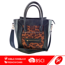 Leopard Print Accented Smile Tote Bag