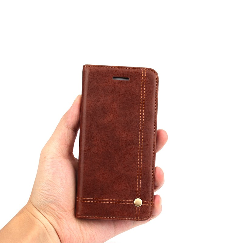 Crazy Horse Rivet Classic PU Leather Wallet Flip Case Cover for iPhone 5S SE