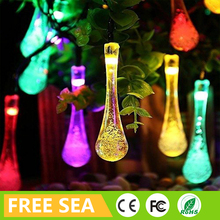 Fashion 30 colorful water drops 6m solar power string light for easter festival decor