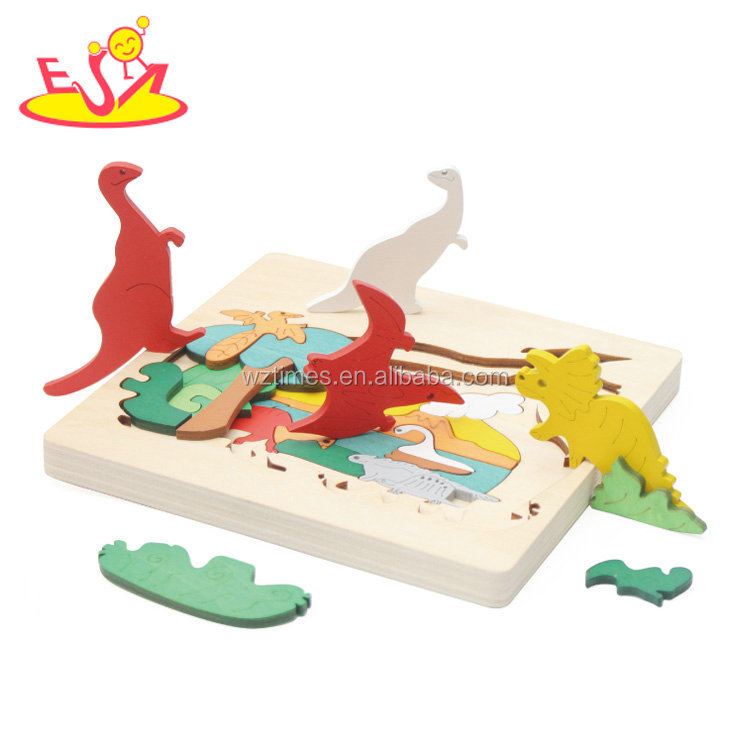 New hottest multi color 3d zoo jigsaw wooden animal puzzle for children W14C250