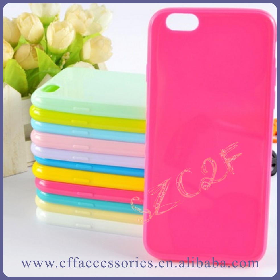 Glossy Candy Color TPU Phone Back Cover Case for iPhone 4 4G 4S