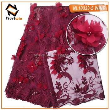 high-end flower trim lace fabric with sequins and beads of NL10333