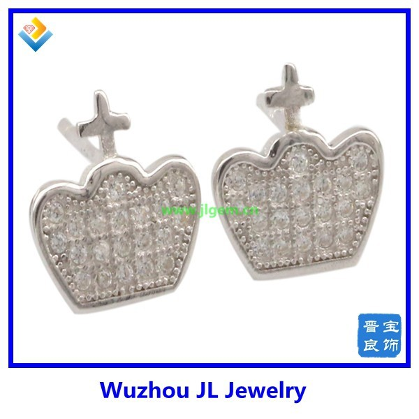 Fashion necklaces 925 sterling silver jewelry crown diamond cz pave stud earring