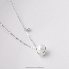 Simple Sterling Silver Heart Necklace Round Ball Jewelry Fresh Water Pearl Pendant with 925 Silver Charm Necklace