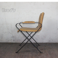 Modern Cheap Iron Frame Industry Metal Dining Chair with leath/PU cushion