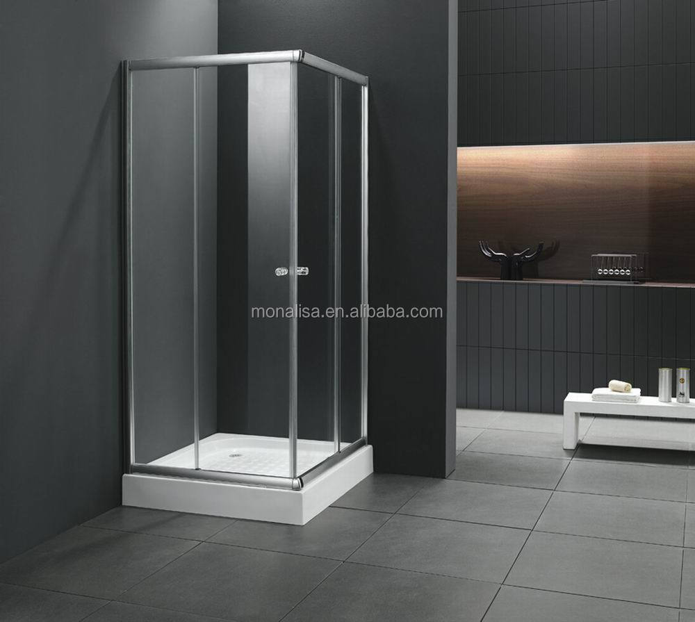 Monalisa square hinge opened tempered glass enclosed shower cubicle (M-641)