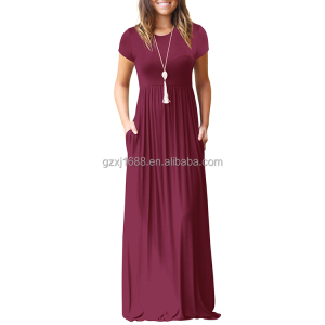 2018 Hot sale solid simple but elegant short sleeve women long Maxi dresses