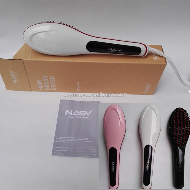 good supplier for ceramic hair straightening brush with iron plate hair straightener iron brush