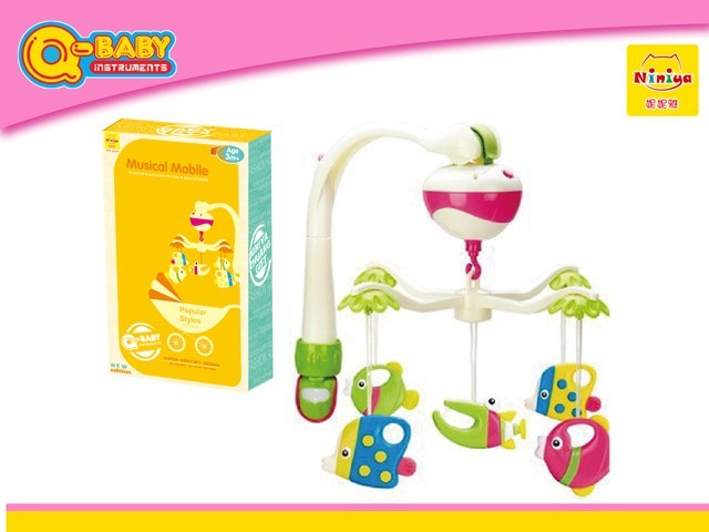 Q-BABY Electric Funny musical baby mobile toy high quality