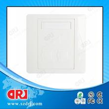 white/ivory color 86 X 86mm 3 port fiber optic Outlet faceplate