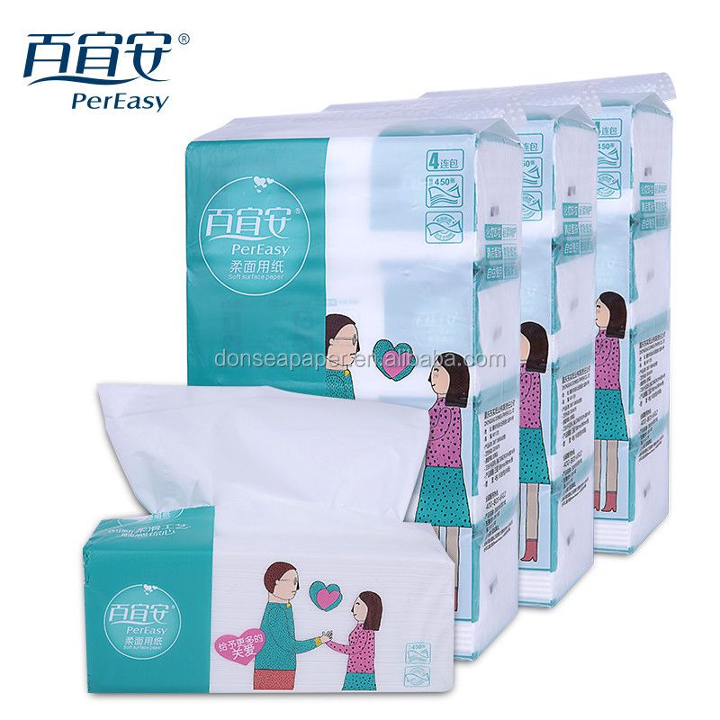 Customize 100% Wood Pulp Super Refresh Type Soft Pack Pull Facial Tissue