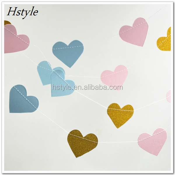 Glitter Heart Paper Hanging Garland For Christmas Tree Decoration S119